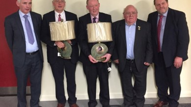 Pictured at Friday's convention meeting were (L-R) Ger Lennon (County Secretary), Michael Meany (outgoing Chairman), Michael Byrne (outgoing treasurer), Sean Campion (far right, new County Chairman). Photo: CarlowGaa.ie