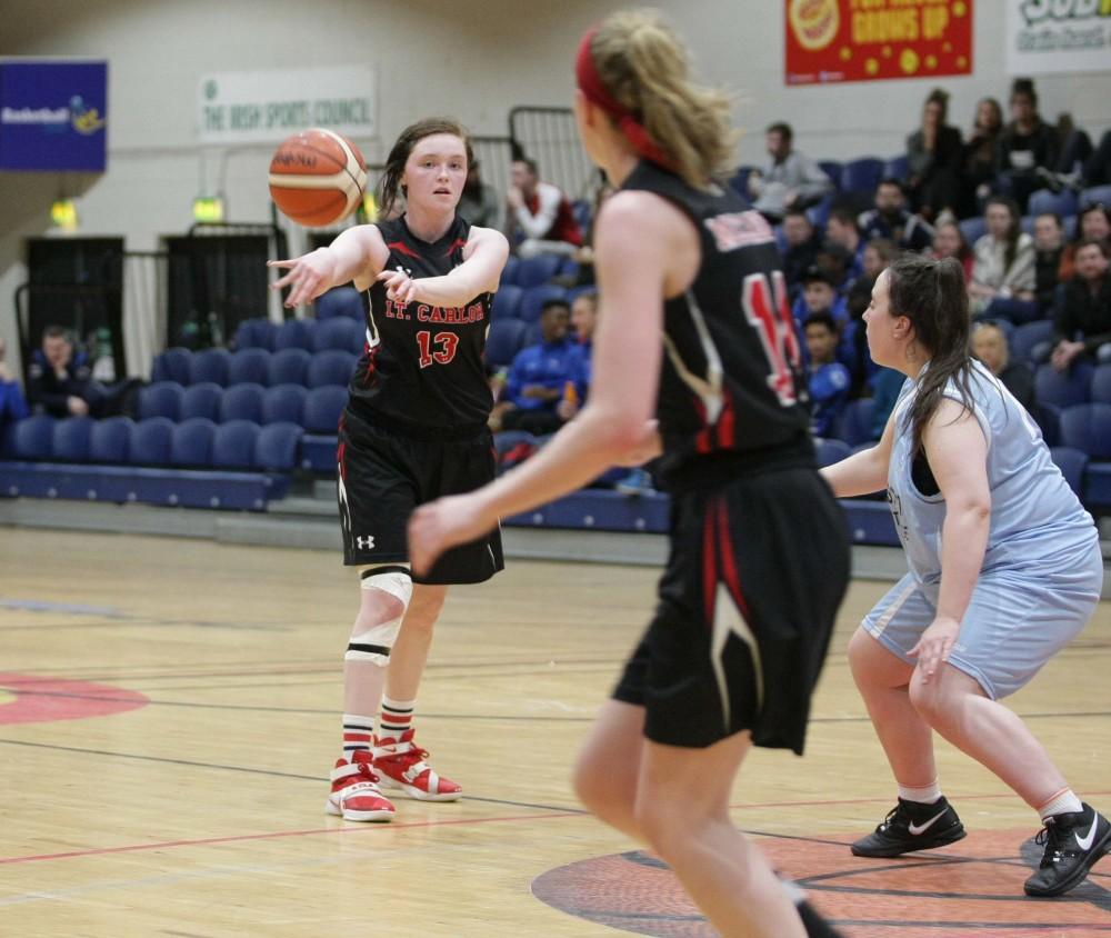 IT Carlow's Shannen Holbrook in action against IT Tralee at the National Basketball Arena on Tuesday 15 March. Photo: Basketball Ireland