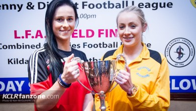 Carlow women's captain Aisling Behan and KIlkenny women's captain Aisling O'Grady with the Angela Hearst Cup at the Seven Oaks Hotel, Carlow, Wednesday 23 March 2016. Photo: Ken McGuire/KCLR
