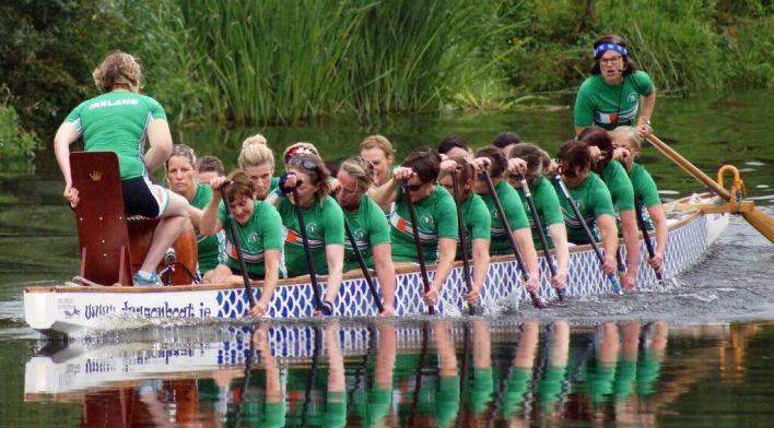 The Irish women's dragon boat team heading to Rome. Photo Credit: Shane Lakes