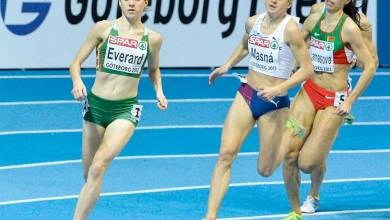 Kilkenny Olympian Ciara Everard (left) pictured in 2013. Photo: Athletics Ireland