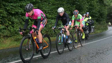 An Post Ras na mBan Stage 3 Kilkenny - Mount Leinster 9/9/2016 Race leader Rikke Lonne of Team Crescent Dare leads the breakaway from the front, with Lydia Boylan of team WNT and Erin Kinnealy CCN Energy Australia team Pic Lorraine O'Sullivan
