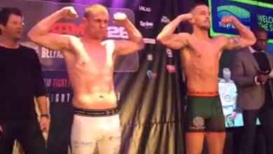 Stephen Kilifin (L) and Andrew Murphy (R) at the BAMMA 28 weigh-ins. Screengrab: BAMMA/Facebook