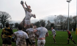 Wes Shirley and Keith Moran in the lineout as Carlow defeated Newbridge. Photo: John Shirley
