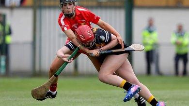 Cork's Laura Treacy with Danielle Morrissey of Kilkenny Mandatory Credit ©INPHO/Morgan Treacy