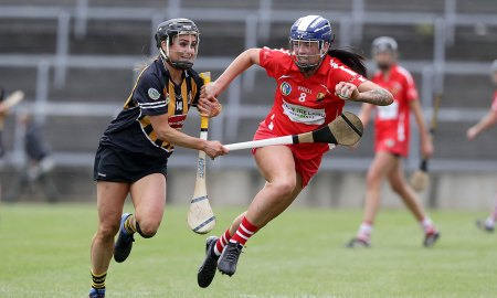Cork's Aisling Thompson with Katie Power of Kilkenny Mandatory Credit ©INPHO/Morgan Treacy