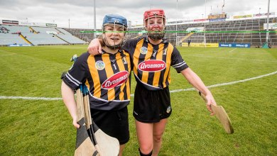 Kilkenny's Emma Kavanagh and Grace Walsh celebrate their Camogie Division 1 Final victory. Mandatory Credit ©INPHO/Morgan Treacy