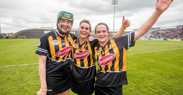 Kilkenny's Denise Gaule, Katie Power and Anne Dalton celebrate Mandatory Credit ©INPHO/Morgan Treacy