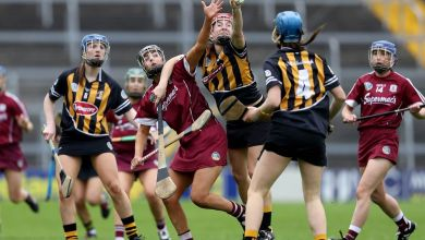 Kilkenny's Aisling Dunphy with Heather Cooney of Galway. Mandatory Credit ©INPHO/Tommy Dickson