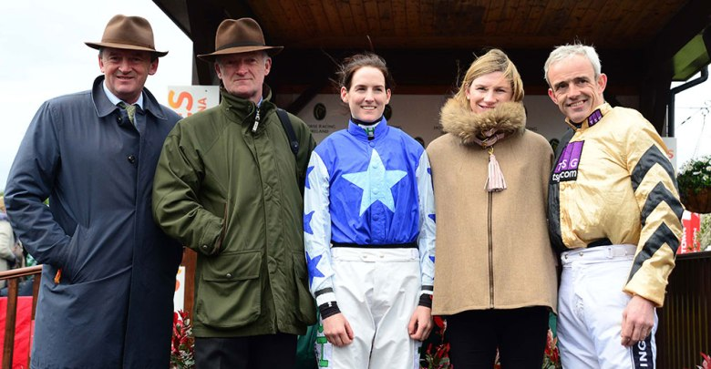 IRISH NATIONAL HUNT CHAMPIONS 2016-2017. (L-R) EDDIE O'LEARY for Gigginstown, Willie Mullins, Rachael Blackmore, Nina Carberry and Ruby Walsh. Photo HEALY RACING.