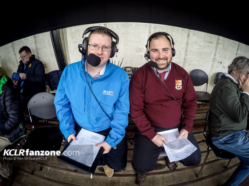 KCLR's Stephen Byrne (left) with Tullow's John Tobin on commentary for the 2017 Provincial Towns Cup. Photo: Ken McGuire/KCLR