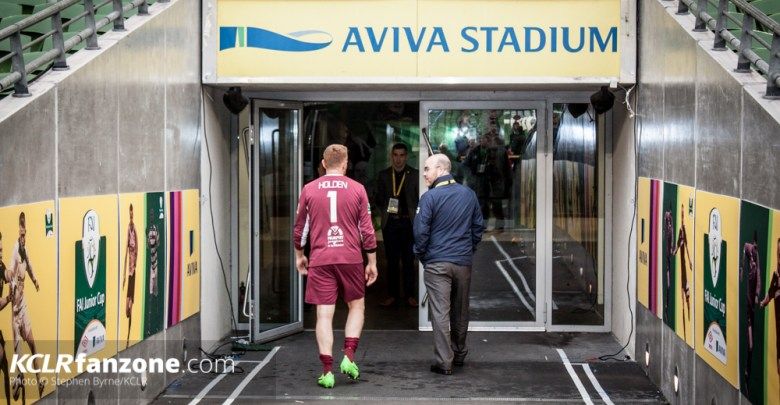 Evergreens Packie Holden heads down the tunnel at the Aviva Stadium after the FAI Junior Cup Final 2017