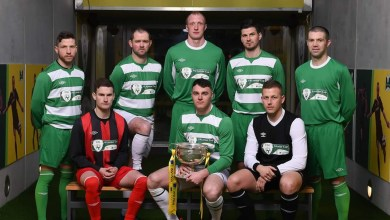 Players, including representatives of Evergreen FC, involved in the run in to the 2017 FAI Junior Cup Final