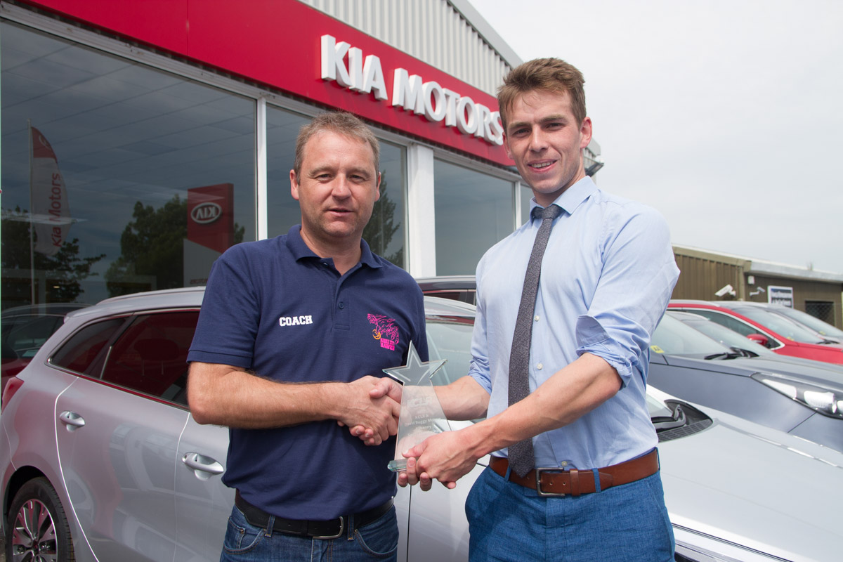 Marble City Hawks coach Julian O'Keeffe pictured recieving their Kilkenny Sport Star Award for April 2017 at David Buggy Motors. Photo: Ken McGuire/KCLR