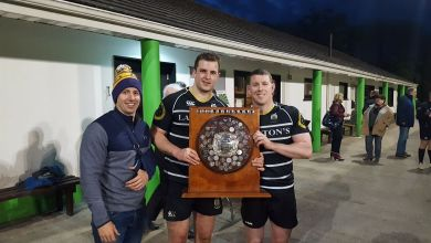 Kilkenny's Rory McInerney, captain David O'Connor and Dearan McGrath with the 2017 Provincial Towns Plate. Photo: Mick McGrath/Kilkenny RFC