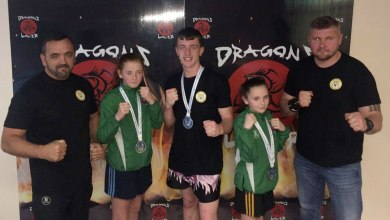 Dragons Lair students Adam Doyle, Sadhbh Moron, Holly Moran and coaches Owen and Rob. Photo:Sonya McCormack Moran