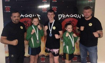 Dragons Lair students Adam Doyle, Sadhbh Moron, Holly Moran and coaches Owen and Rob. Photo:Sonya McCormack Moran