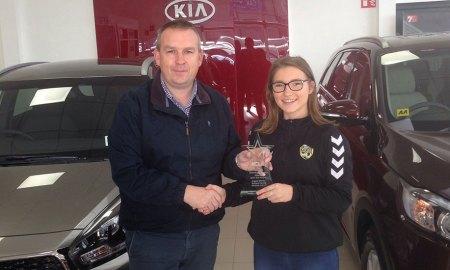 David Buggy (left) with Kilkenny United WFC's Bethany Carroll (right). Photo: Kevin Regan/KCLR