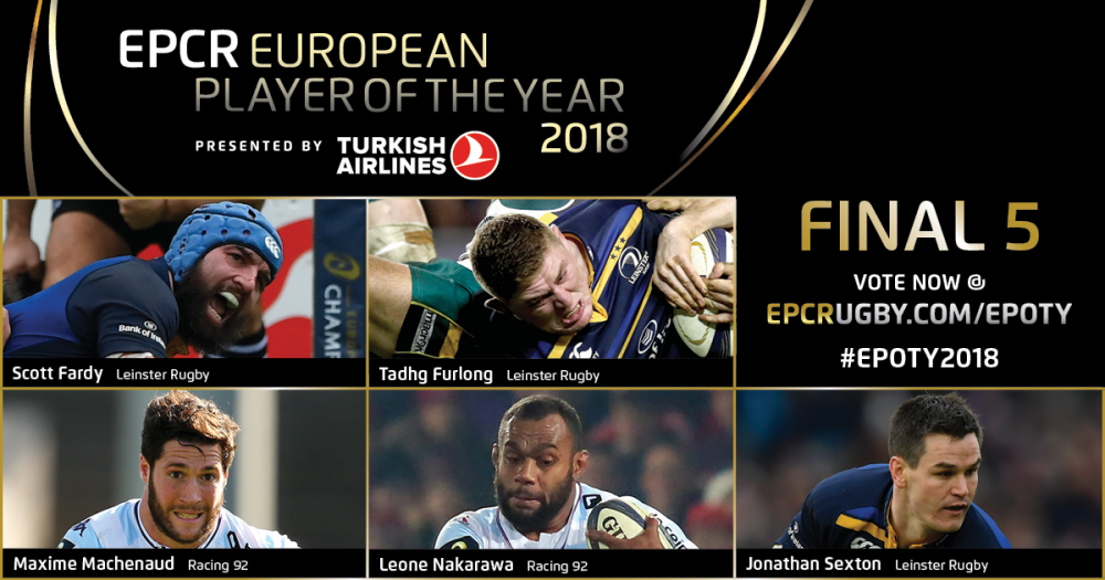 Leinster trio Sexton, Furlong and Fardy in running for European player award