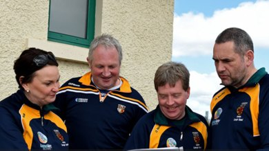 The Antrim management team of Karen and Carl McCormick, Seamas McAleenan, and Sean Paul McKillop. Photo ©INPHO