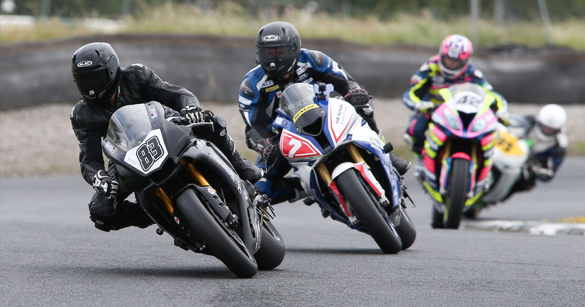 Dunlop Masters Superbike Championship leader Richie Ryan heads Peter Moloney and Luke Johnston at Mondello Park. Photo courtesy Fergus Brennan/Motorsport Promotions