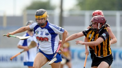 Waterford's Cathriona McGlone tackled by Anne Dalton of Kilkenny Mandatory Credit ©INPHO/Oisin Keniry