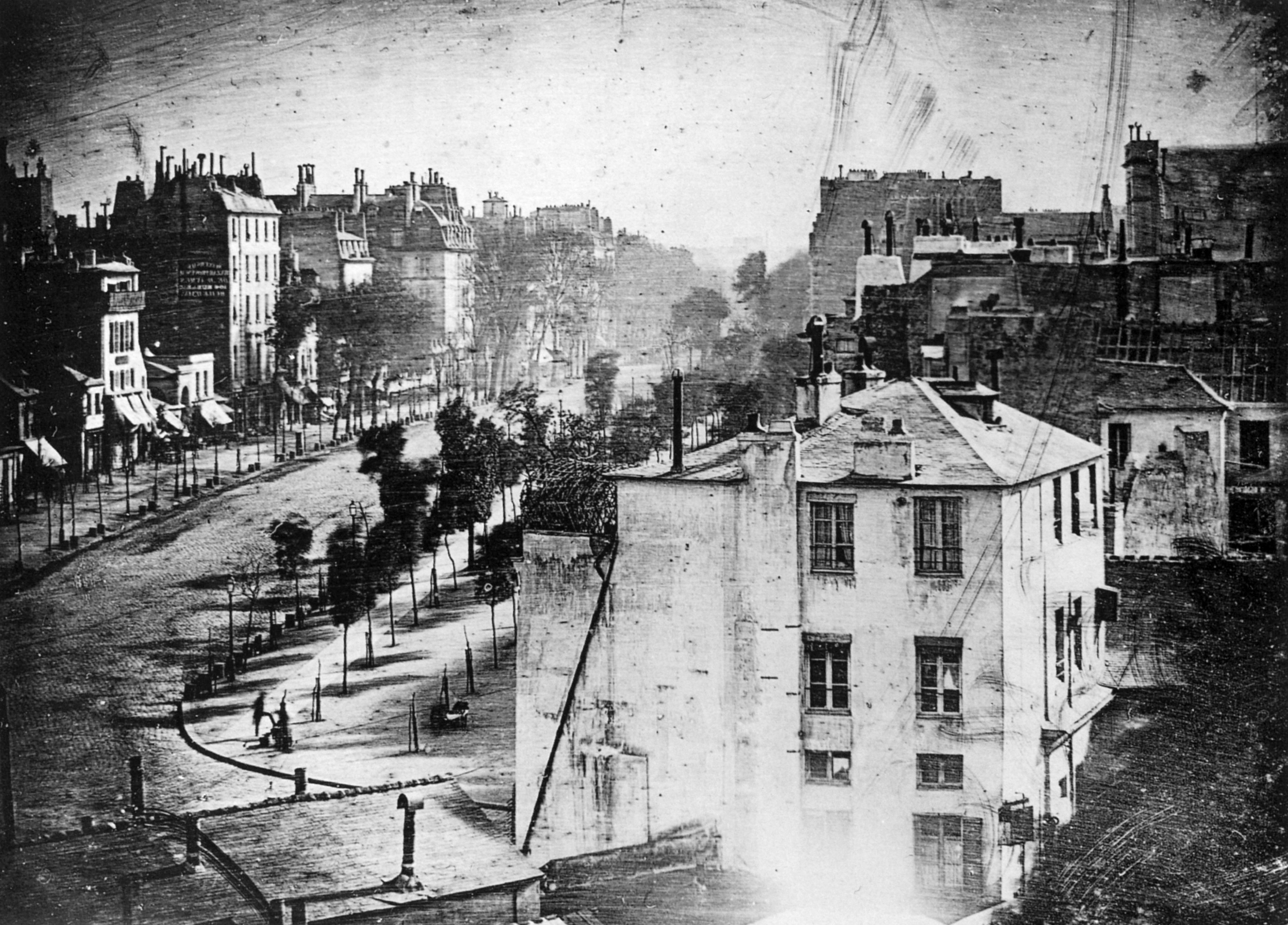 1838 Louis Daguerre first known photograph of a human