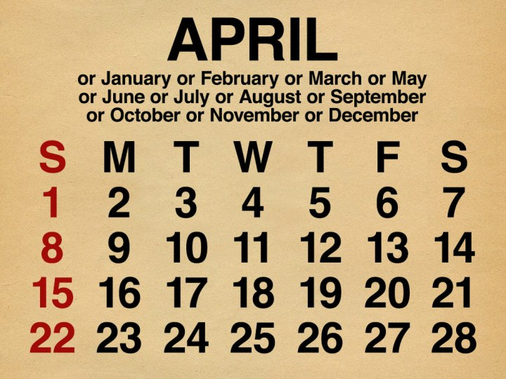 All months with equal days