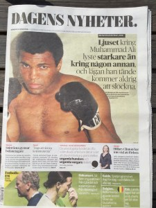 Sweden's Dagens Nyheter newspaper devotes its cover story to Ali's passing.