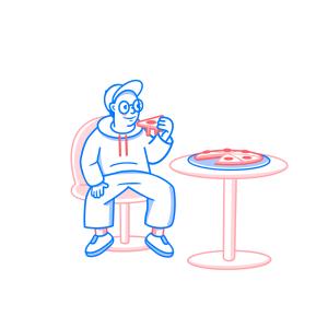 pizza, man, sitting