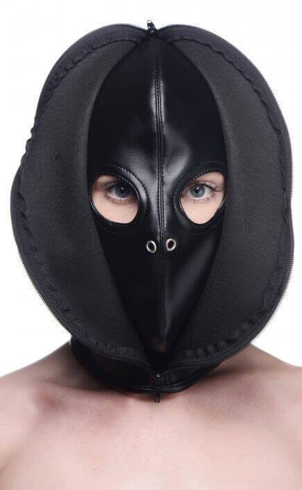 Faux leather mask with zip up frond.