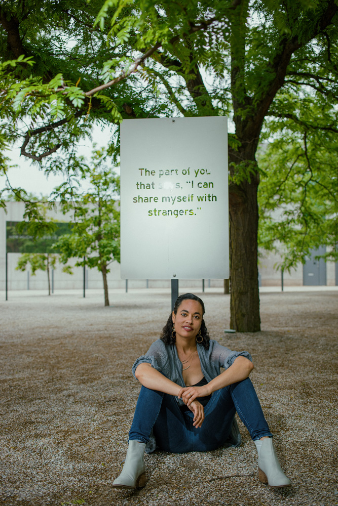 """Chloë Bass in her """"Wayfinding"""" exhibit at the Pulitzer Arts Foundation (photo byChristopher Bauer)"""