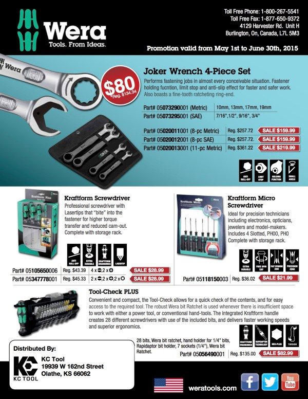 Wera Tools on Sale @ KC Tool – $50 Free Shipping – Ends ...