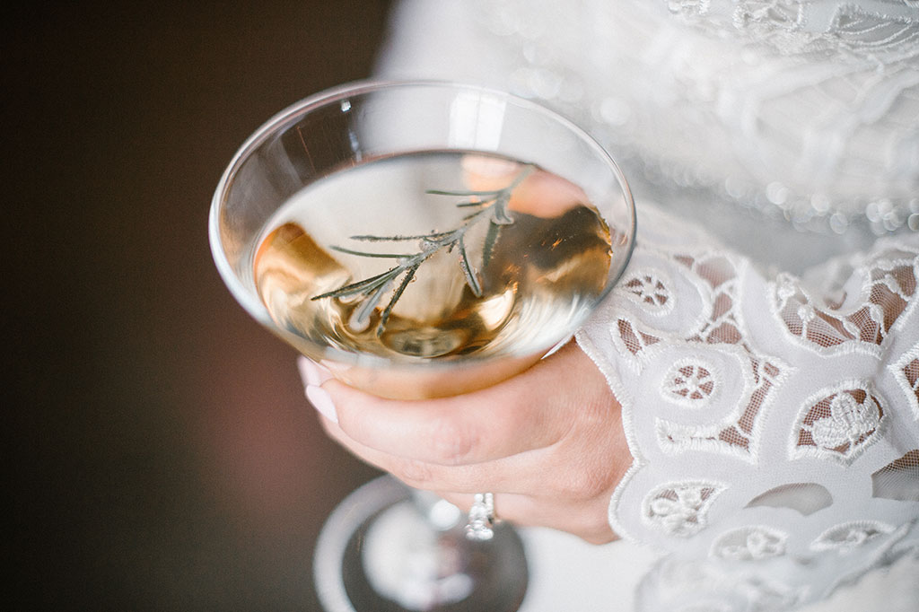 Bride with RosemaryMartini