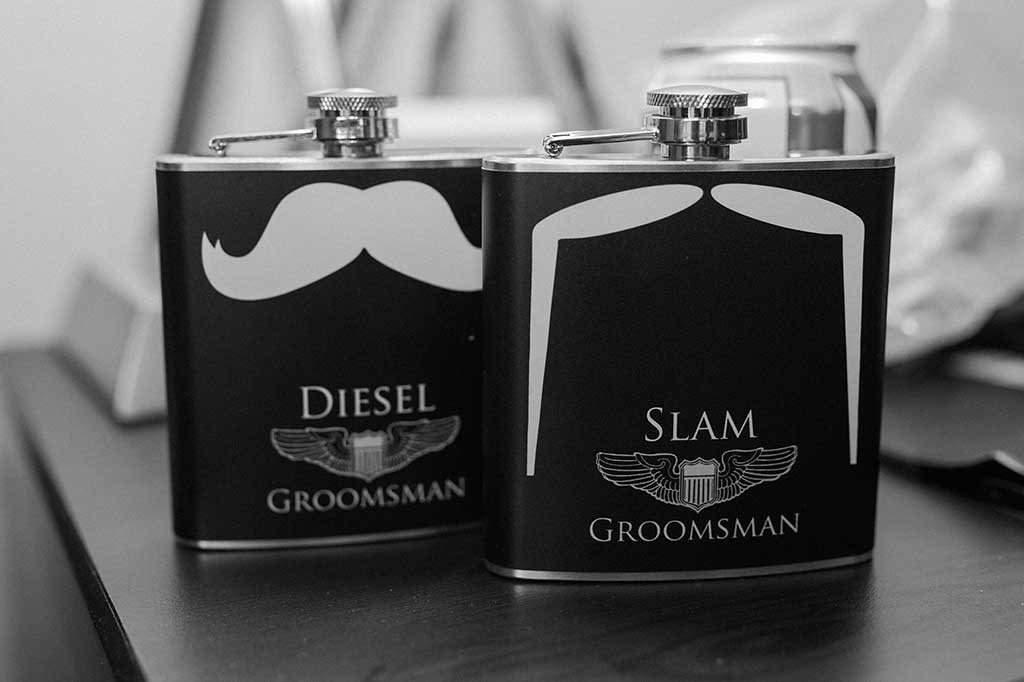 Groomsmen flasks for a drink before wedding