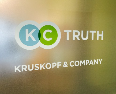 Branding agency - The Kruskopf & Company sign outside the front door of the agency