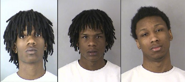 Ce-Antonyo D. Kennedy, 17 (left to right); Dominic McDaniel, 18; Issac M. Carter, 17, have all been charged with first-degree murder and armed criminal action in the slaying of Alexis Kane.