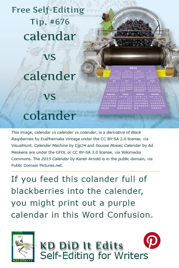 Pinterest pin for Calendar vs Calender vs Colander