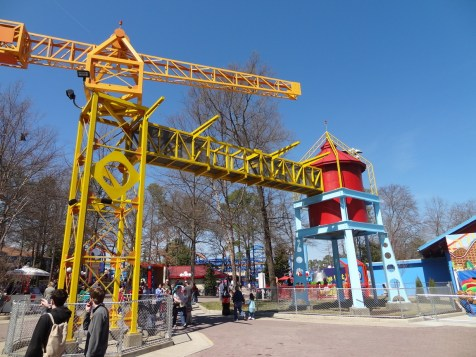 The old KidZville Crane is still here, but with new paint.