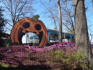 The new pumpkin cut out that the train goes through.