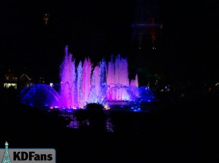 Pink, Purple, and Blue fountains