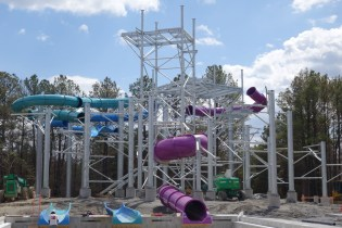 Looking up from the new slide tower from the side of splash pool for Aqua Blast and Thunder Falls