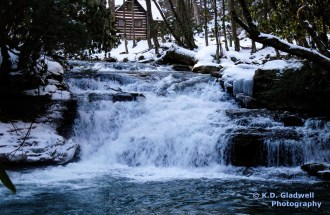 Mill Creek Falls Winter with Cabin