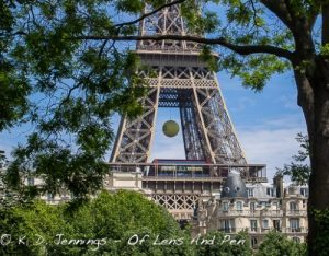 Paris Eiffel Tower With Giant Roland-Garros Tennis Ball