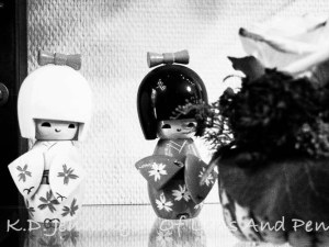 Black and white impression of hair salon