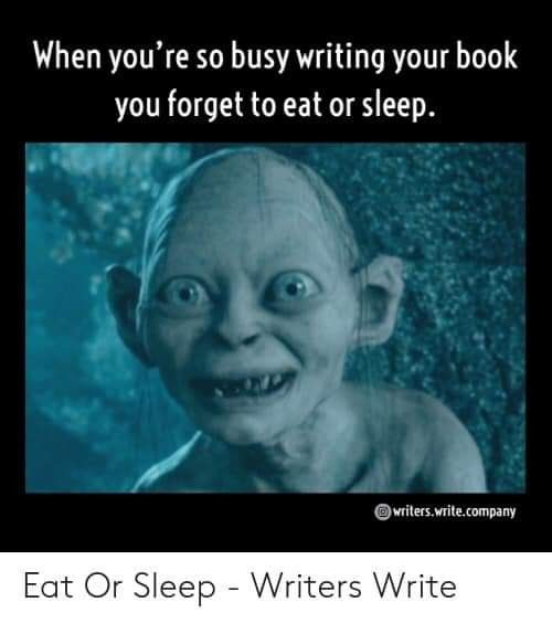 Meme Monday for sure. I can go hours without eating or drinking when I write!