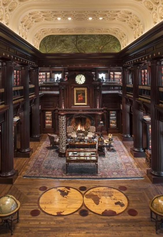 An extravagant home library that even Columbus would admire.