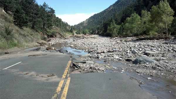 A section of the missing Hwy 34, looking down from Drake on Sept. 18, 2013. (Photo: Facebook / Justin Smith)