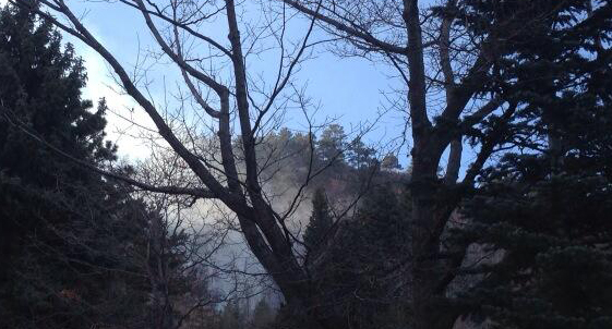 Smoke from grass fire on Flagstaff Mountain in Boulder