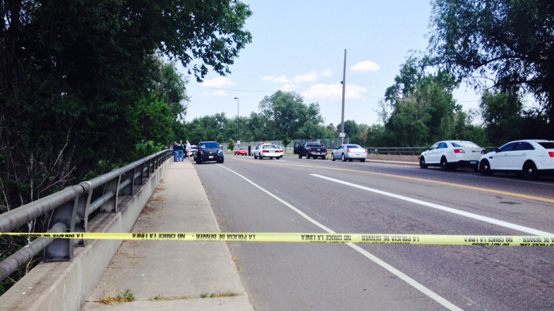 Denver Police investigated an officer-involved shooting at S. Platte River Drive and Florida Avenue on July 2, 2014. (Photo: KDVR/Justin Joseph)